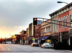 Downtown Urbana looking west at sunset.j