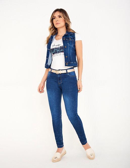 Jean skinny con desgaste