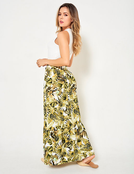 Maxi falda con estampado botánico en chalis