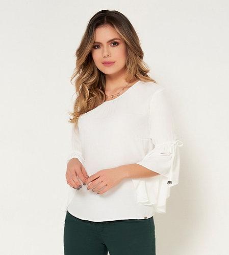 Blusa manga larga cuello redondo