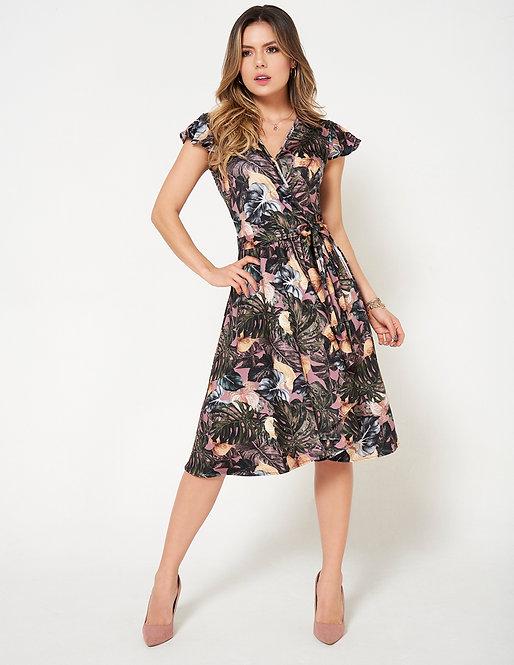 Vestido corto con estampado botánico