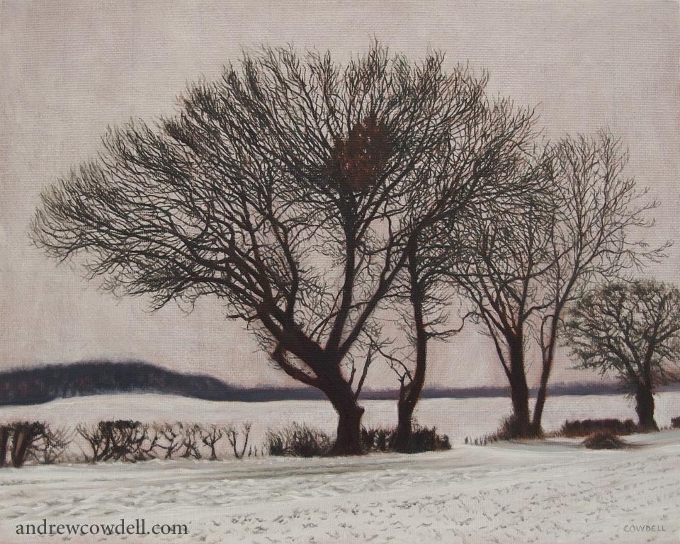 Dark Paintings by Andrew Cowdell. Landscape painting of trees in snow at Hermitage, West Berkshire.