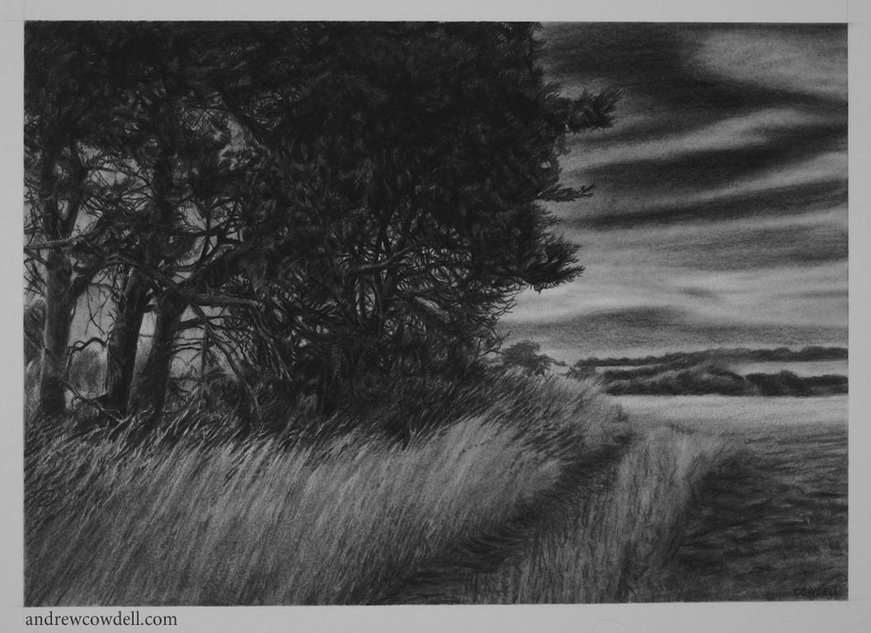Dark painting by Andrew Cowdell showing trees and figure in moonlight.