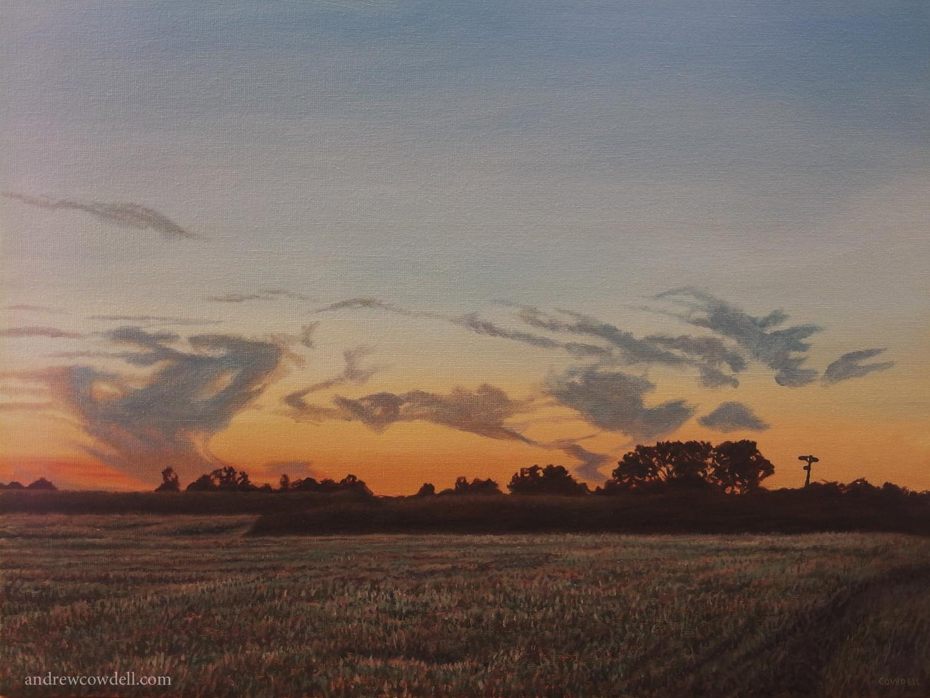Dark Paintings by Andrew Cowdell. Landscape after sunset over fields at Hermitage, West Berkshire.