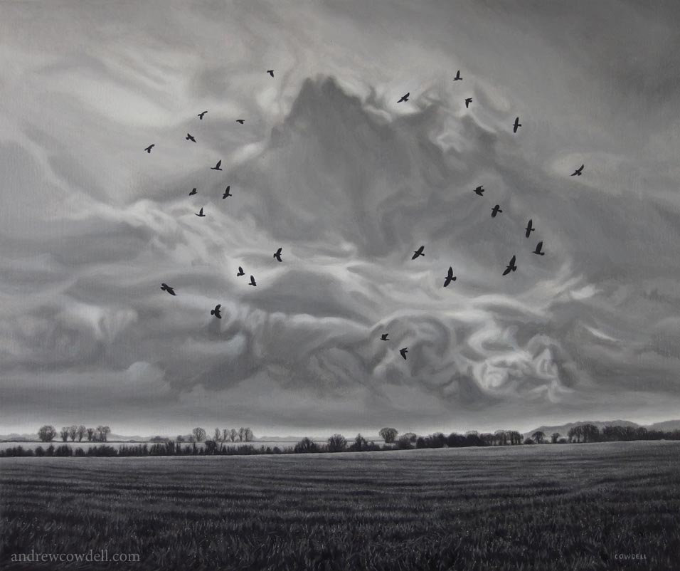 Dark Paintings by Andrew Cowdell. Monochrome landscape painting showing corvids circling above field at Hermitage, West Berkshire.