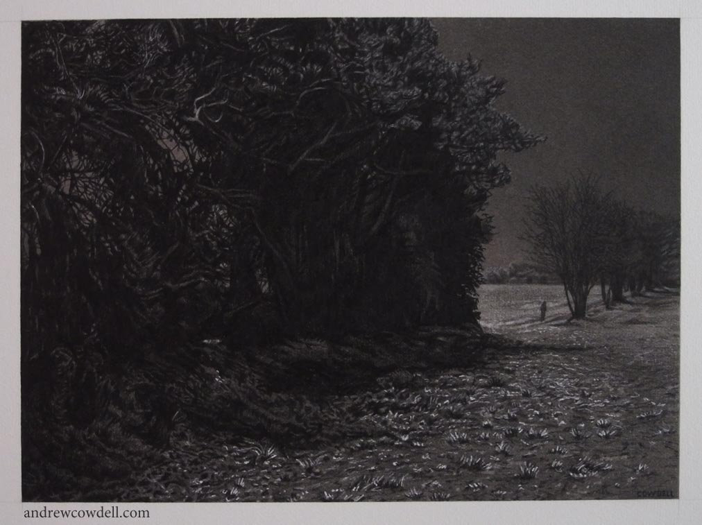 Dark paintings by Andrew Cowdell. Night shadows cast by full moon.