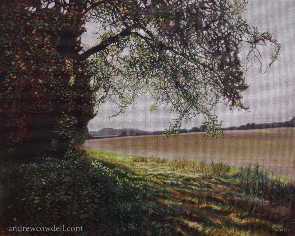Dark Paintings by Andrew Cowdell. Landscape painting from the edge of a field at Hermitage, West Berkshire.