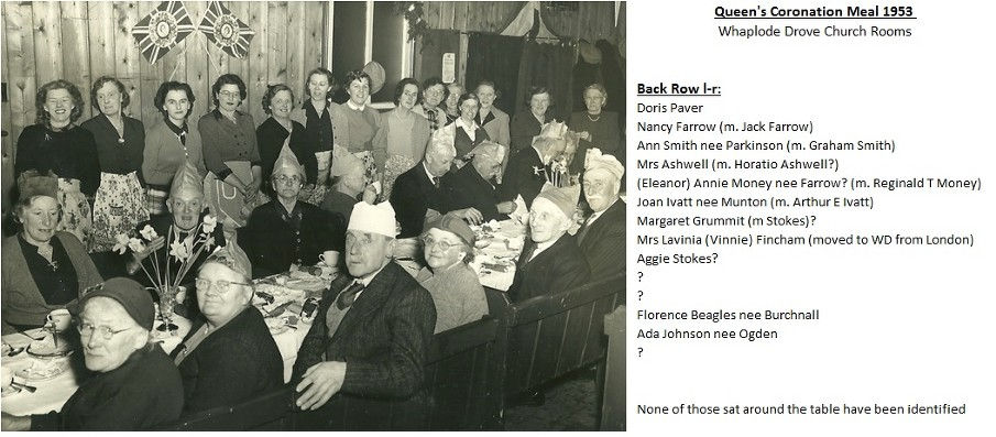 Whaplode Drove Coronation Meal Church Rooms - with names