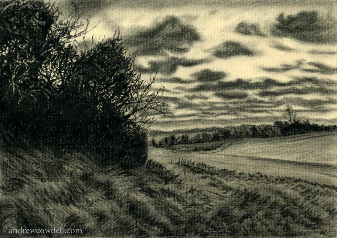Dark Paintings by Andrew Cowdell. Pencil study of fields near Hermitage, West Berkshire.