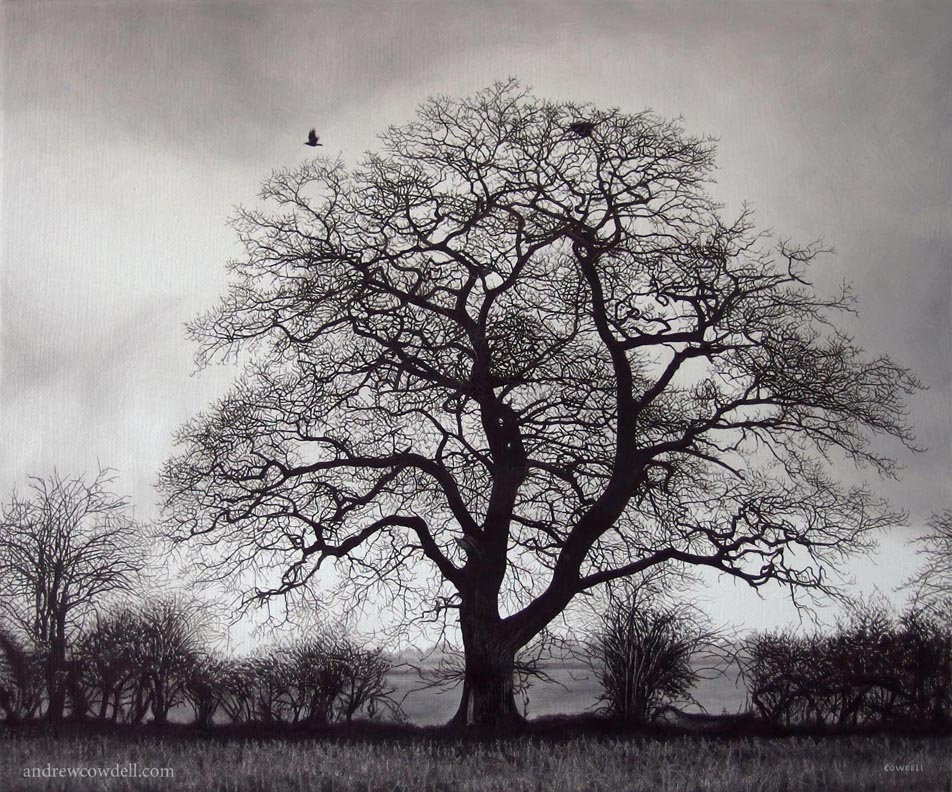 Dark Paintings by Andrew Cowdell. Bleak monochrome and highly detailed painting of tree and crow at Hermitage, West Berkshire.
