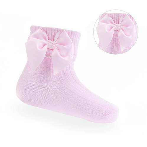 PINK ANKLE BOW SOCKS