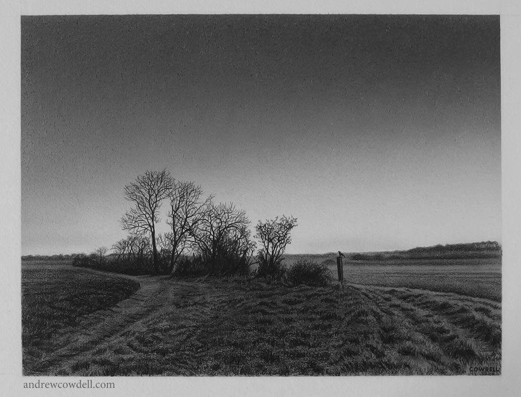 Dark Paintings by Andrew Cowdell. Pencil and watercolour drawing of fields at dawn at Hermitage, West Berkshire.