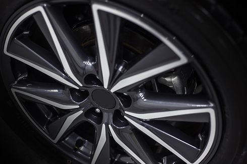 close up of car tyre