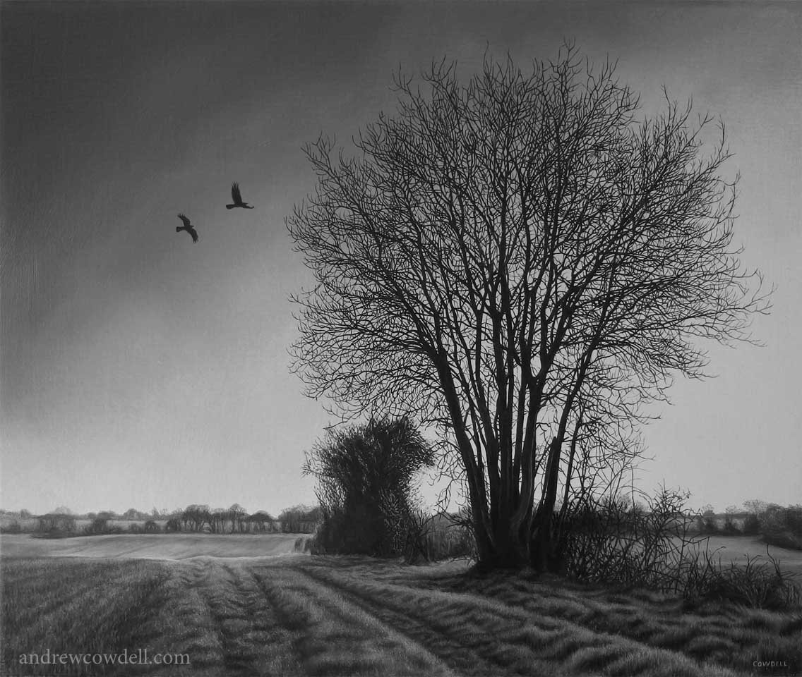 Dark Paintings by Andrew Cowdell. Highly detailed painting of monochrome landscape at Hermitage, West Berkshire.