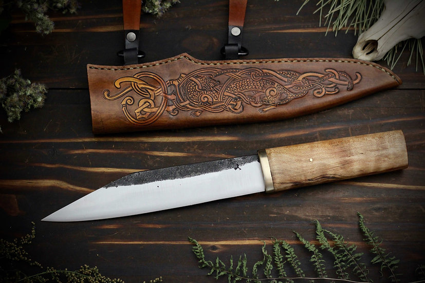 Large Seax With Hidden Tang & Tooled Sheath