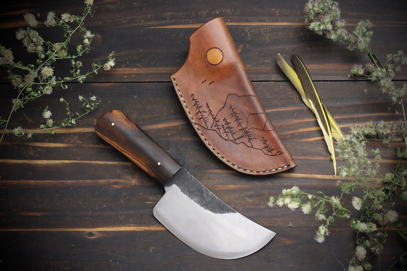 Hand Forged Curved Chopper with Mountain Tooled Sheath