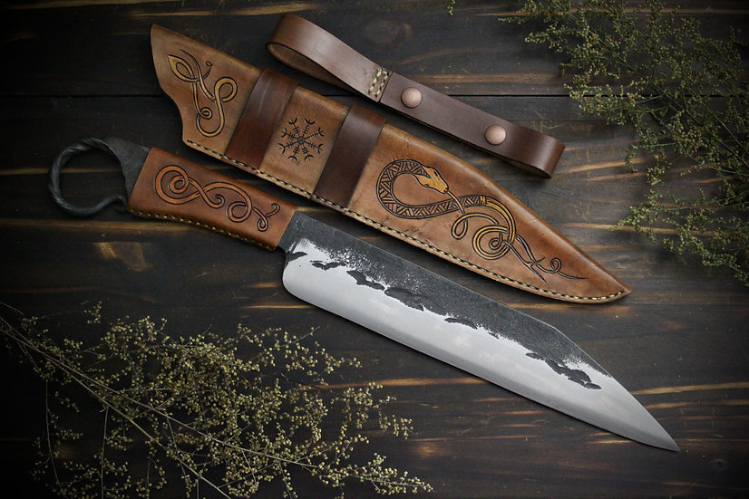 Hand Forged Seax With Leather Handle