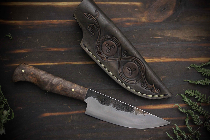 Hand Forged Everyday Carry Blade With Stabilized Handle