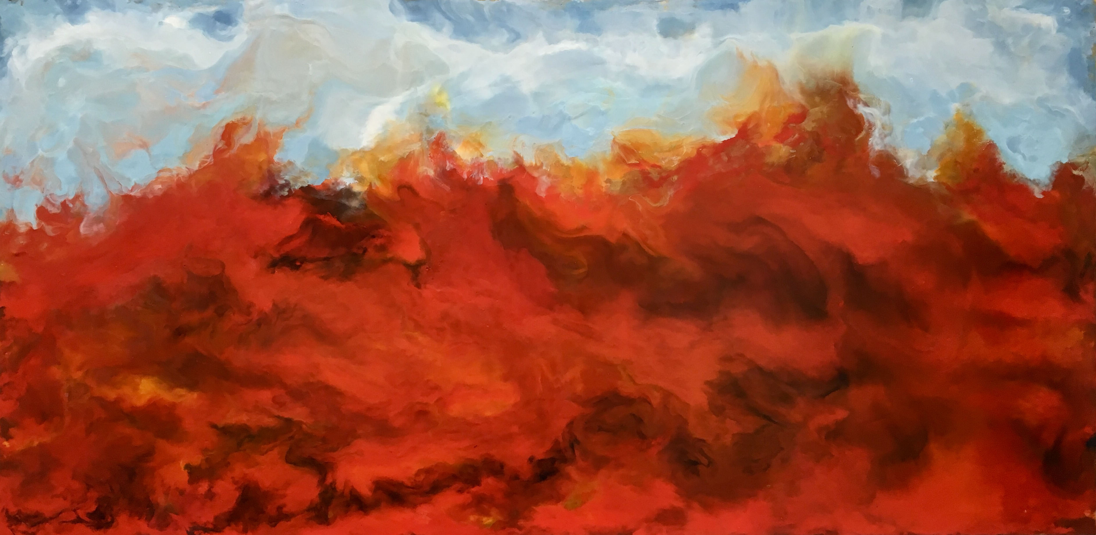 Red Seas - encaustic on wood, 24 X 48
