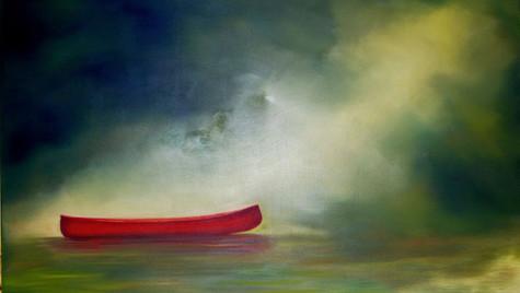 Red canoe, green sky