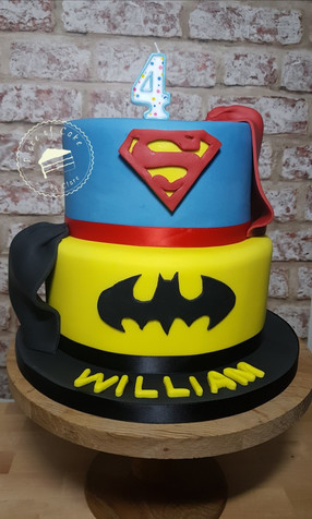 Batman and Superman superhero 4th birthday cake