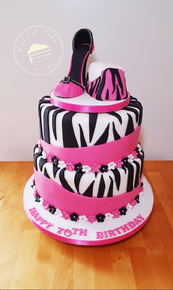 Zebra print cake with stiletto shoe and handbag topper