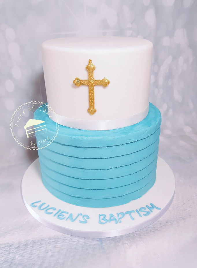 Two tiered Baptism cake