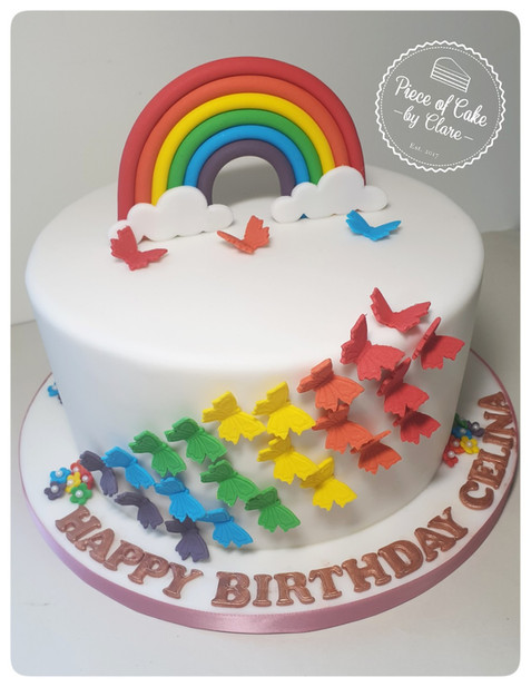 Butterfly, rainbow and flowers cake