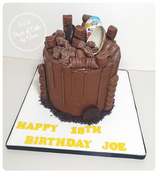 Chocolate drip cake with hufflepuff colours