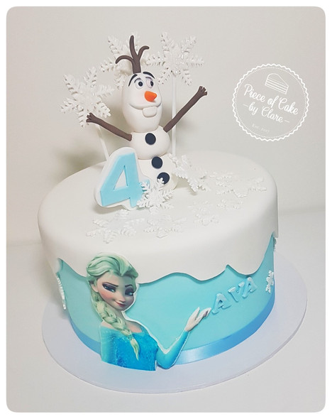 Frozen cake with handmade Olaf