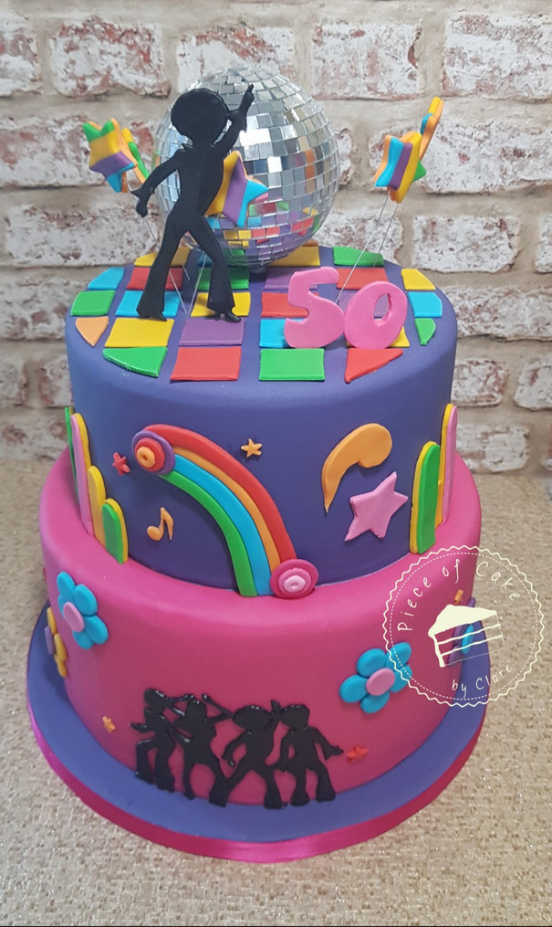 70's Disco themed cake for a 50th birthday