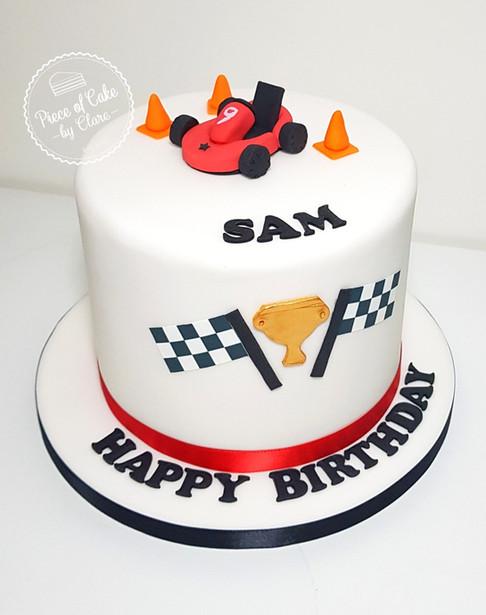Go karting themed cake