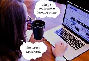 writer in a coffee shop funny jokes