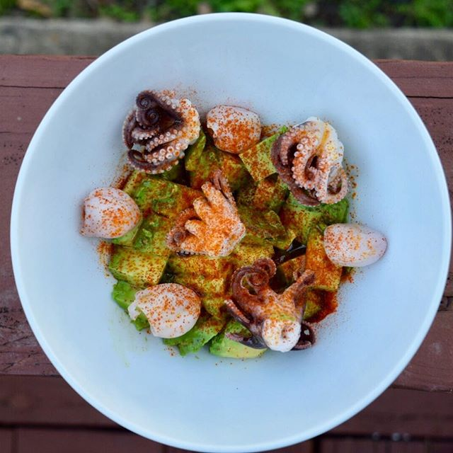 Baby octopus and avocado with paprika