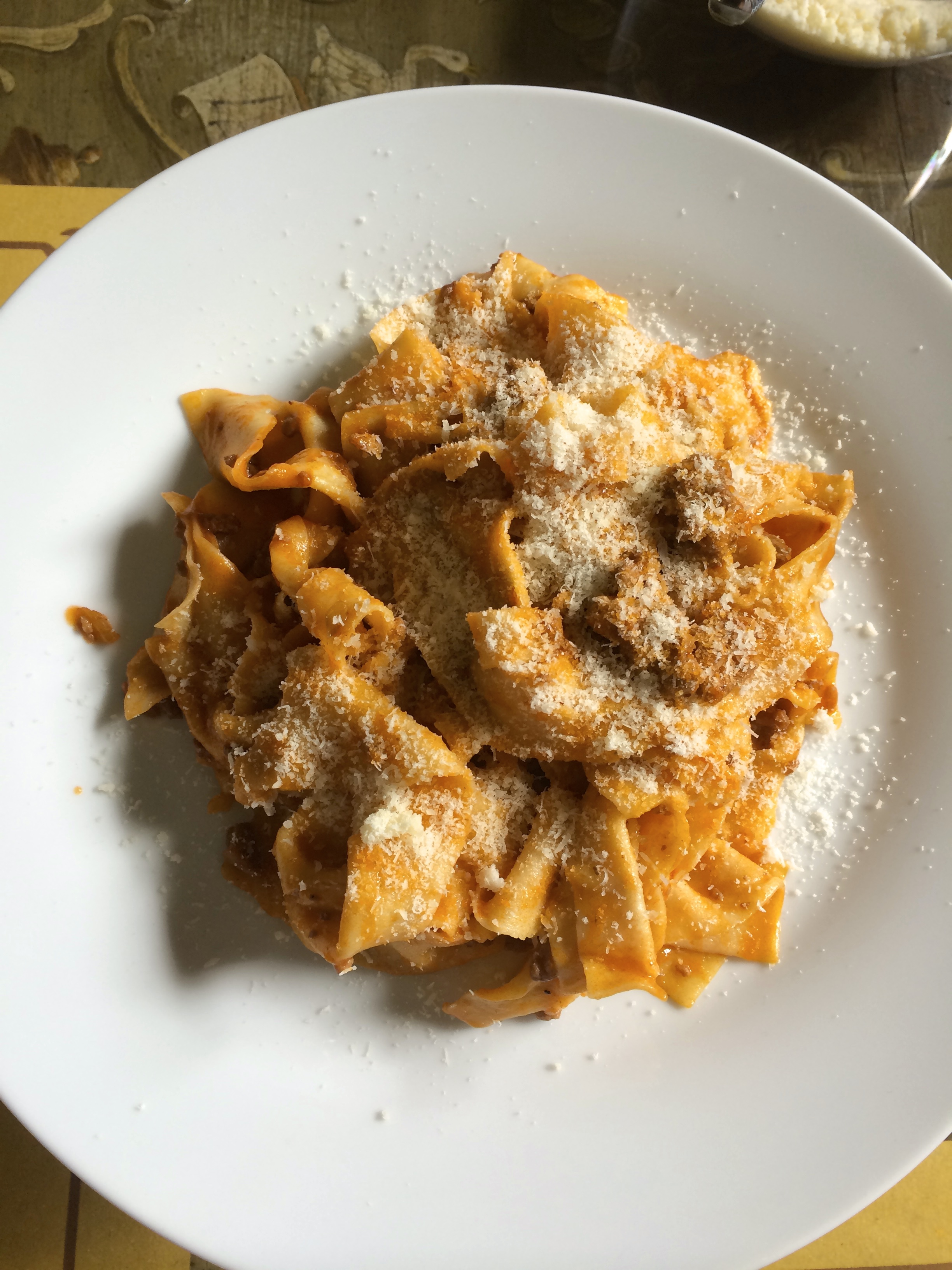 Homemade pasta and bolognese