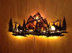 ELK AND MOUNTAINS LARGE WALL LIGHT S