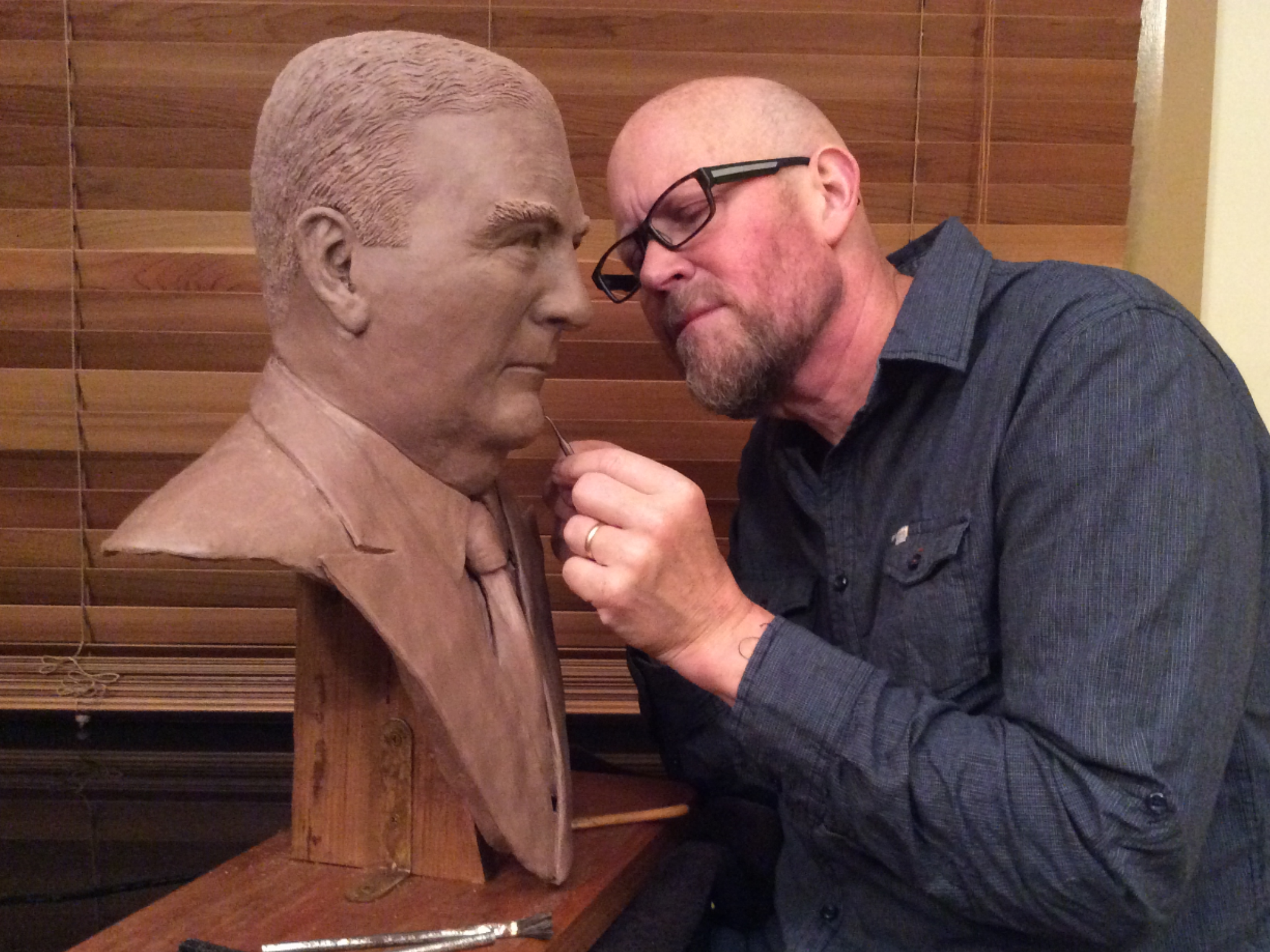 RICHARD WORKING ON CLAY BUST