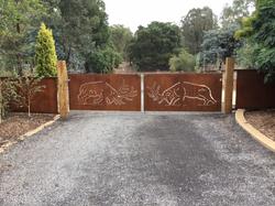 Hand plasma cut Elk gates.