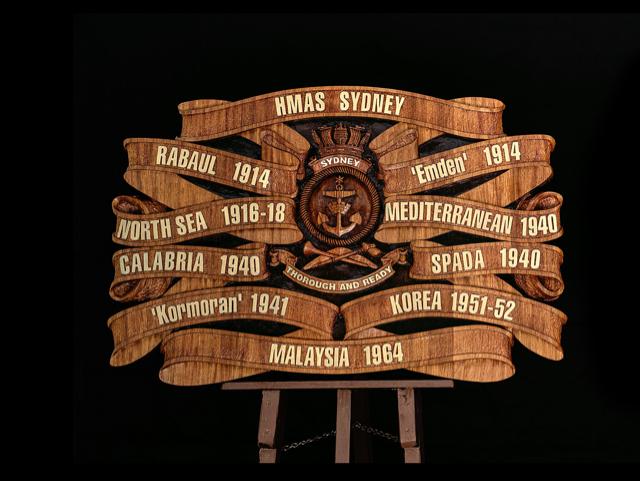 HMAS Sydney Battle Honours Board 1
