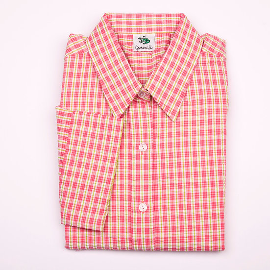 Pink and green check seersucker 3/4 sleeve relaxed fit shirt_Folded