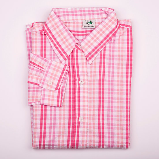 Multi pink check seersucker long sleeve relaxed fit shirt_Folded