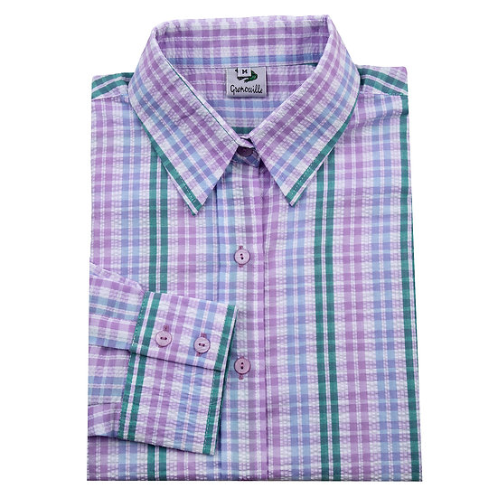 Ladies blue, lilac and green striped seersucker long sleeve shirt - 1572/5