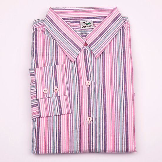 Pink, purple and aqua blue multi stripe seersucker long sleeve relaxed fit shirt_Folded