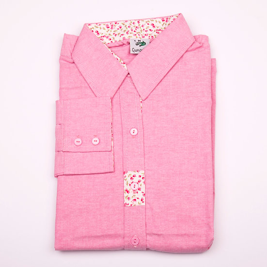 Dark pink oxford with pink flower detail insert relaxed fit shirt_Folded