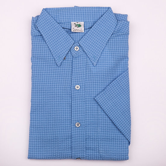 Blue on Blue Check Seersucker Men's Short Sleeve Shirt