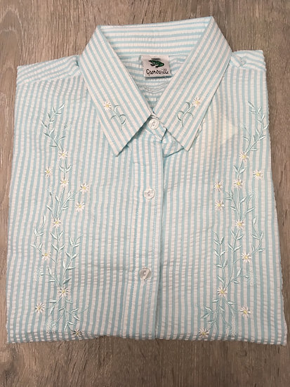 Ladies Aqua Seersucker Shirt - Embroidered Flowers  - 3/4 Sleeve Relaxed Fit