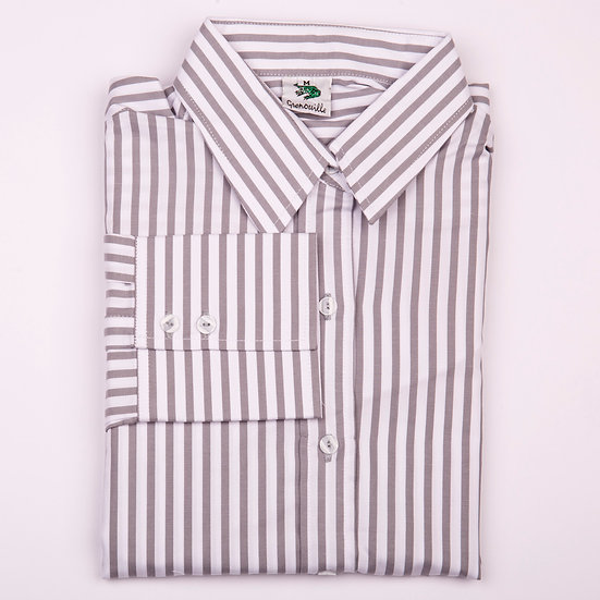 Silver grey and white stripe twill cotton long sleeve relaxed fit shirt_Folded