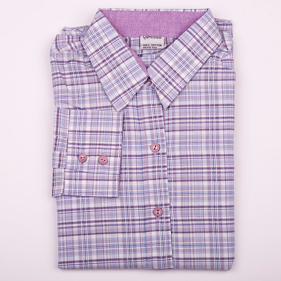Purple check with plain purple oxford insert long sleeve relaxed fit shirt_Folded