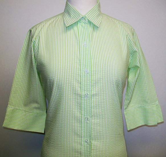 Ladies Lime and White Seersucker - 3/4 Sleeve Relaxed Fit