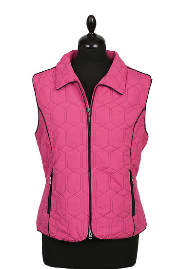 Diamond Gilet - Cerise with Navy Piping - size 10